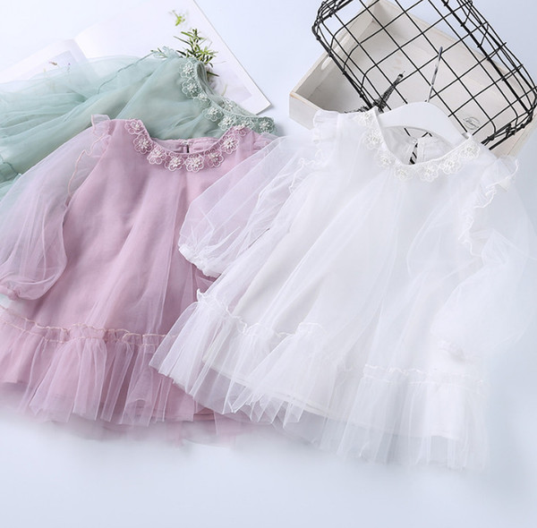 Girls lace tulle dress shirt kids beaded flowers embroidered round collar long sleeve dress 2019 spring children ruffle princess tops F4401