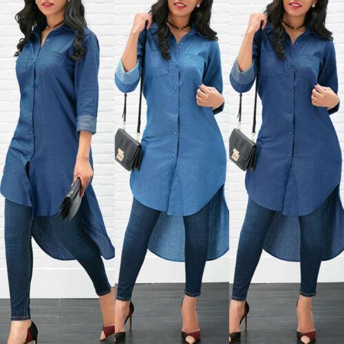 Moda feminina verão legal blue jeans denim simples breve botão turn-down collar manga comprida casual solto camisa blusa dress