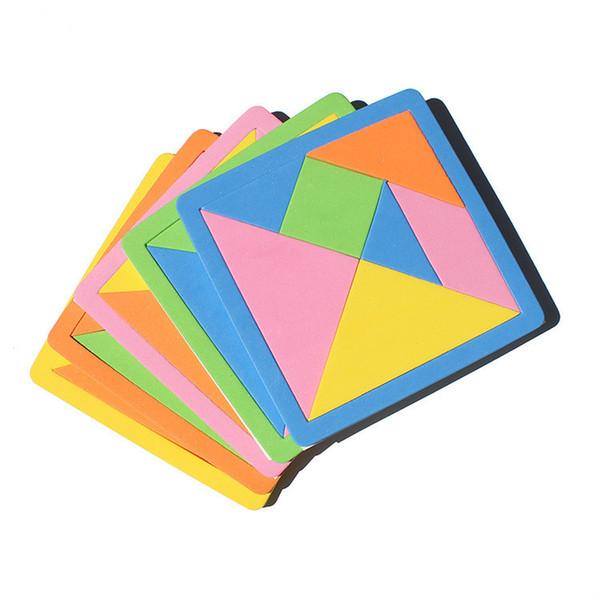 Espuma de EVA Tangram Colorido Sete-peça de Puzzle do Aluno do jardim de Infância Jigsaw Aprendizagem Brinquedos Handmade Pai-filho Brinquedo Presentes L