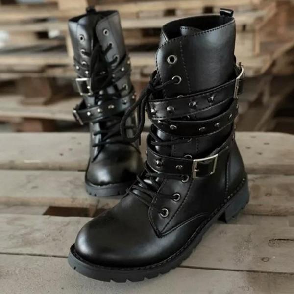 2019 Moda Yeni Punk Gotik Tarzı Dantel up Kemerler Yuvarlak Ayak Çizmeler Kadın Ayakkabı Kısa Boots56ui