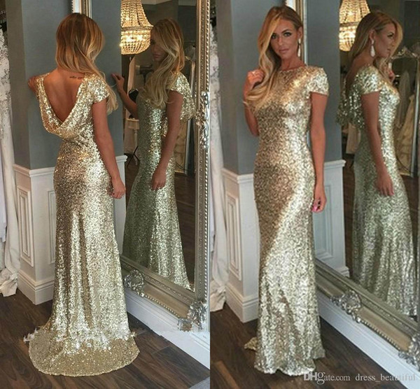 New Gold Sequins Long Bridesmaid Dresses 2019 Sparkly High Neck Short Sleeve Backless Wedding Party Gowns Maid of Honor Dresses Custom Made