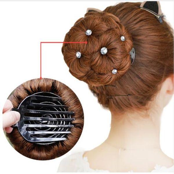 Cabello Mujer Donut Chignon Bollo de pelo Donut Clip en extensiones de postizo Fibra sintética de alta temperatura Moño rizado