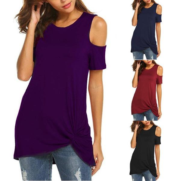 WOMAIL Casual tinta unita in poliestere materiale freddo spalla O-collo moda di alta qualità vendita calda donne T-Shirt 19MAR13