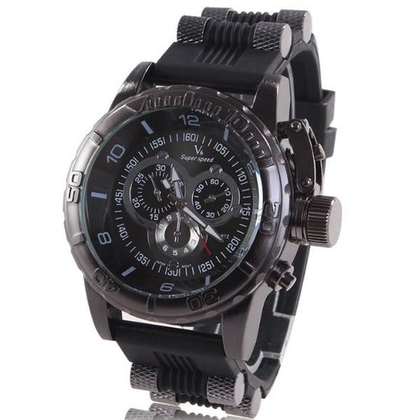 V6 men's leisure sports tape watch market punk wind three ring scale strange shape of men's wrist watch pin buckle