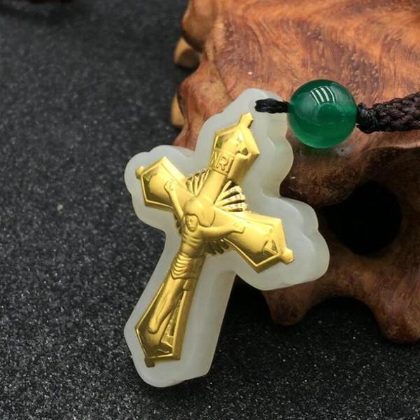 Neues Design Kreuz Jade Jesus Unisex Anhänger Top Qualität Beste Weihnachtsgeschenk Schmuck Halskette Für Männer Frauen