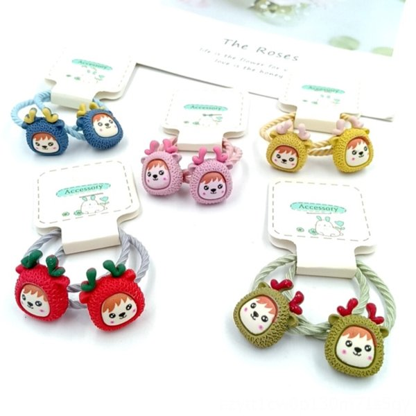best selling High stretch girl cartoon vegetable animal head Strawberry rubber band Fruit rubber band rope set children Fruit strawberry hair ring pair