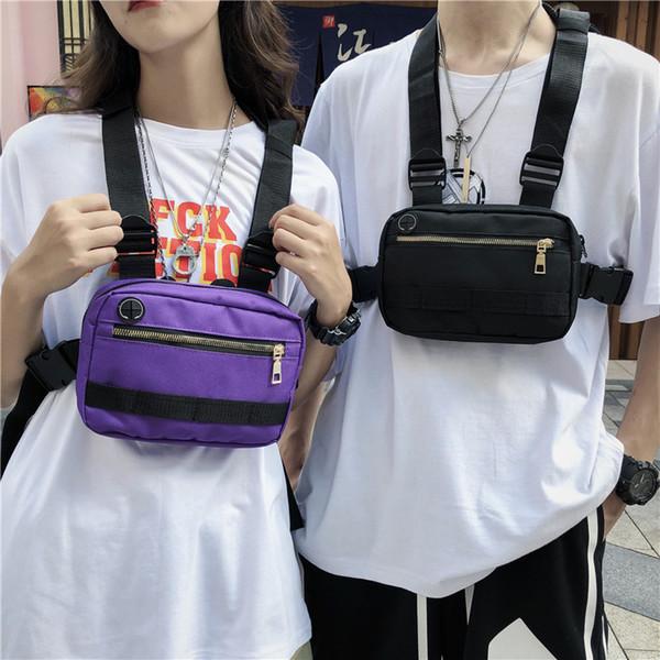 Men Chest Bag Small Hip Hop Streetwear Functional Chest Bag Cross Shoulder Bag Adjustable Tactical Streetwear Bags Waist Packs