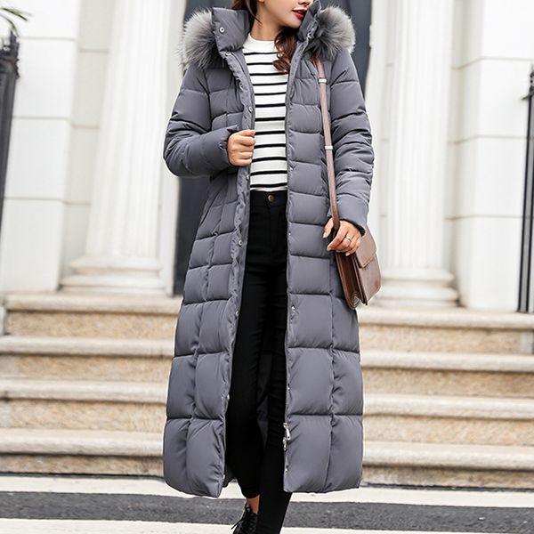 Litthing 2019 New Style Brasão mulheres na moda inverno jaqueta de algodão acolchoado revestimento morno Maxi soprador Jacket Manga comprida casacos Parka Femme