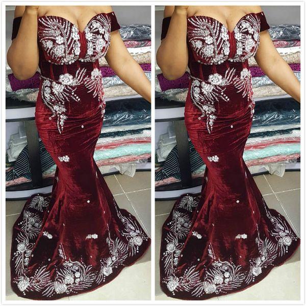 Aso Ebi 2019 moldeados terciopelo vestidos de baile árabe Borgoña atractivo de la sirena vestidos de noche de encaje barato partido formal segunda recepción Vestidos ZJ267