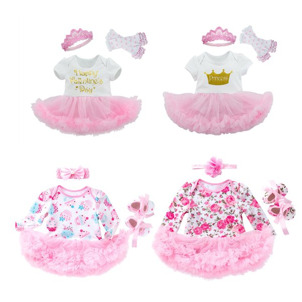 Girls Three-piece Suit Princess Dress Short Sleeve Crown Letter Bow Headband Cartoon Dots Printed Cake Flower 23