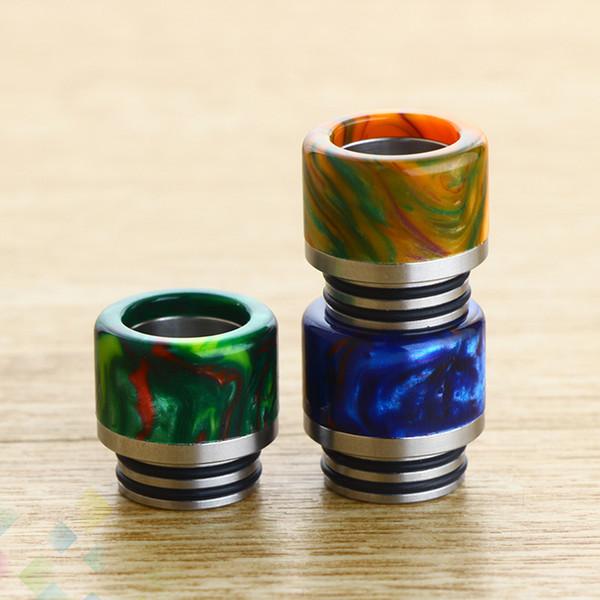 810 Drip Tip Resina epossidica con bocchini a bocca larga in acciaio inox Punte a goccia a penna Vape per atomizzatori 810 e sigaretta