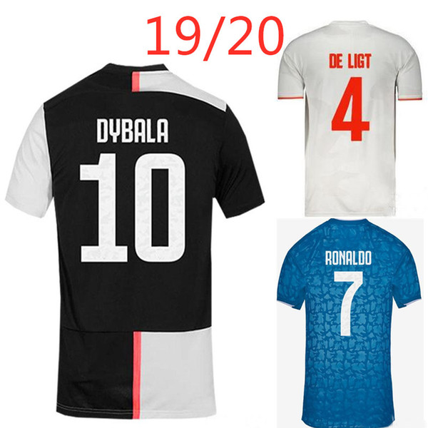Buffon ronaldo higuain occer jer ey 2019 2020 dybala home away 19 20 new thai quality a football hirt, Black;yellow
