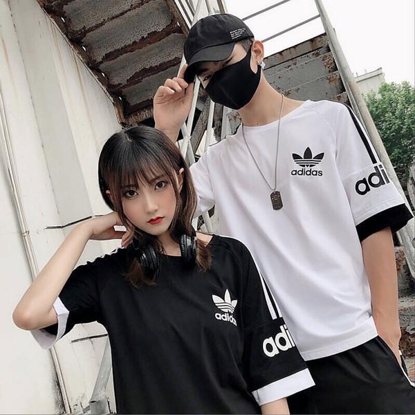 2019didas Kurzarm-Kostüme für Männer und Frauen verbinden sich zu einem farbigen Sommer-T-Shirt.