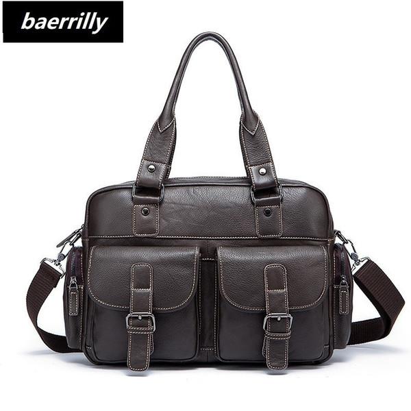 Genuine Leather Men Briefcase Business Bags Male Office Work Laptop Bags Men Travel Bag attache brief case portfolio man lawyer #251503