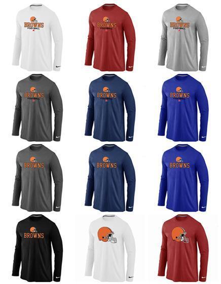 Новый стиль Cleveland Browns Men Sideline команды Логотип Performance Толстовка Аутентичные с длинным рукавом T-Shirt