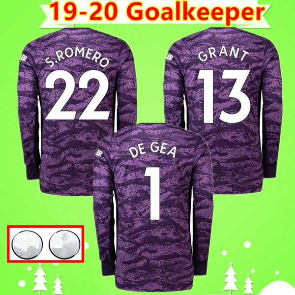 Manchester United # 1 DE GEA 2019 2020 Man United camiseta de fútbol de portero morado Manga larga 19 20 MAN UTD camiseta de fútbol # 22 S.ROMERO GRANT