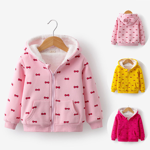 good quality Girls Warm Jacket Children Autumn Winter New Warm Tops Kids Printed Long Dleeves Zipper and Velvet Hooded Coat