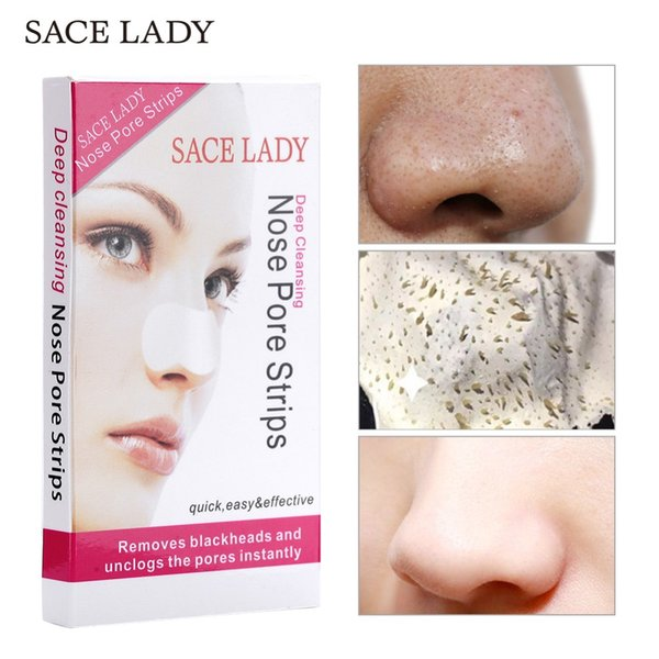 SACE LADY 14 Pcs Nose Strips Blackhead Remover Mask Deep Cleansing Black Head Cleaner Nasal Sticker Face Dot Spot Skin Care