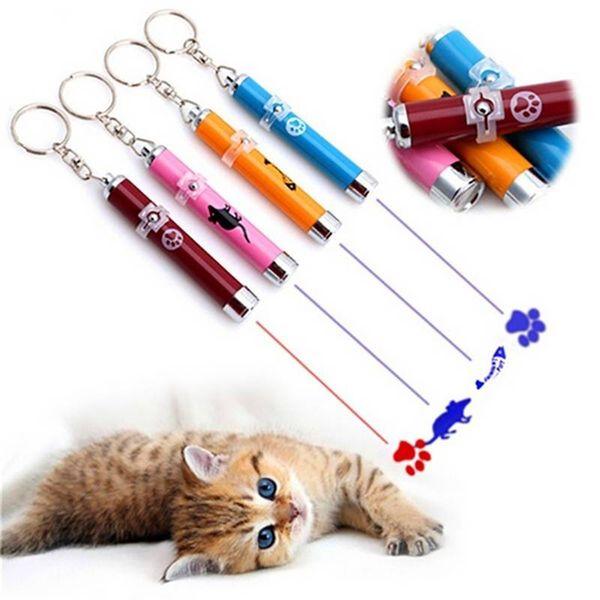 5 Colors Pet Laser Pointer Cat Toys Cartoons Laserpen LED Light Creative Funny Pet Cat Toys Pen with Bright Animation Mouse LIZ