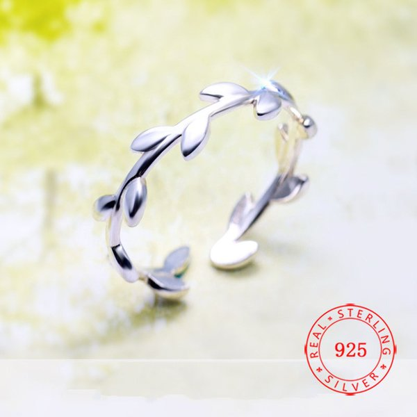 Genuine 100% 925 Sterling Silver Leaves Ring The Olive Branch Women Ring Opening Adjustable jewelry fashion rings