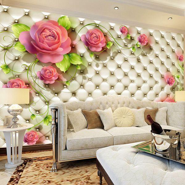 Personnalisé Toute Taille Papier Peint Photo Moderne Mode Rouge Rose Fleur Papier Peint Papier Peint Chambre À Coucher Salon Canapé Toile de Fond Papier Peint