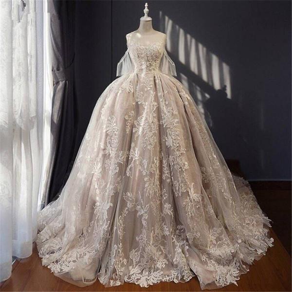 Champanhe Vestido de Casamento Royal Hemline Arábia Saudita Oriente Médio Estilo Até O Chão De Luxo Custom Made Nupcial Formal Vestidos de Baile