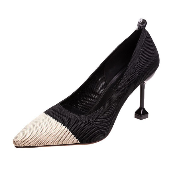 Dress 2019 Spring Summer Women Pumps Sexy Pointed Toe Thin Heels Shallow Air Mesh Fretwork Super High Heels Shoes Zapatos De Mujer