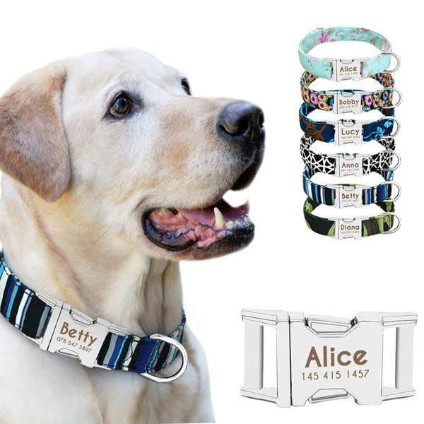 Coleira de cachorro Personalizado Nylon Pequenos Cachorros Coleiras Para Cachorros Gravar Nome ID para Pequeno Médio Grande Pet Pitbull Pastor Alemão