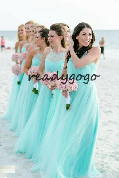 Illusion Halter Tulle Turquoise Bridesmaid Dresses for Beach Weddings 2019 Backless Country Beach Junior Wedding Guest Gown