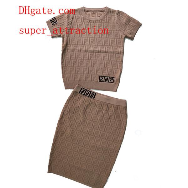 e33b561a4d5 women s clothing 2 Piece Set Women O Neck Short sleeve Sweater Knit Skirt  Elegant Lady