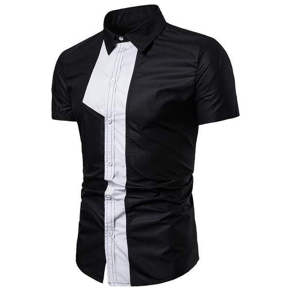 Shirts Men Summer and Autumn Retro Black Casual Slim White Short Sleeve Shirt New European Style Hip Hop Pockets Shirt for Men