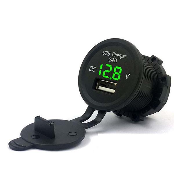 12 V Su Geçirmez 2.1A USB Araç Şarj Soket Power Outlet Adaptörü ile Deniz Tekne Motosiklet için Gerilim Voltmetre