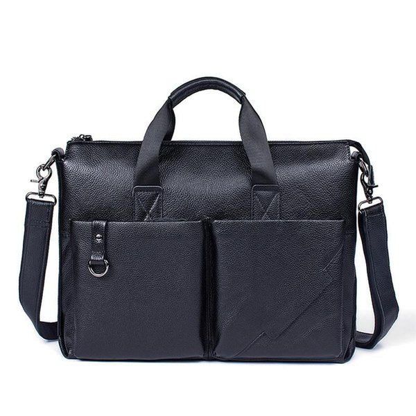 Men Business Shoulder Bags Genuine Leather Briefcase Portfolio Totes Men Leather Messenger Travel Bags Male Vintage Handbag Pop