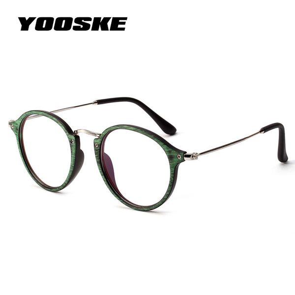 YOOSKE Round Eyeglasses Frame Women Vintage  Vintage Wood Grain Glasses Female Classic Clear Lens Optical Spectacle Frames