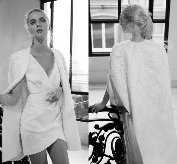 Elegant 2019 Fall Elie Saab Short Wedding Dresses with Cap Lace Applique V Neck Sleevs Custom Made Beach Bridal Gowns