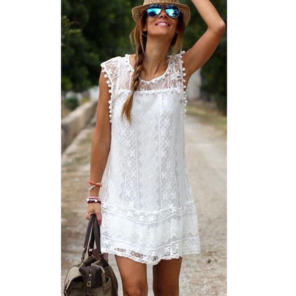 Vestido de playa de encaje hueco blanco para mujer sexy para mujer Ropa de playa Vacaciones de verano Mini vestido corto Vestidos vestido playa