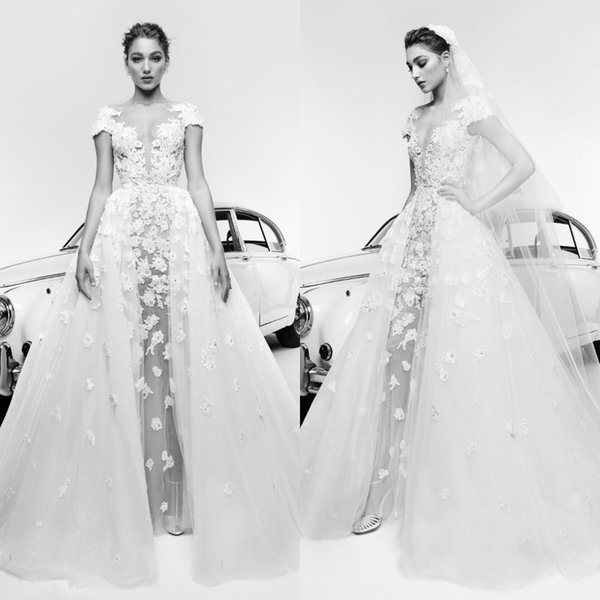 Zuhair Murad 2019 Sexy Illusion Wedding Dresses A Line With Overskirt Lace Applique Cap Short Sleeve Boho Bridal Gowns Plus Size Bride Dress