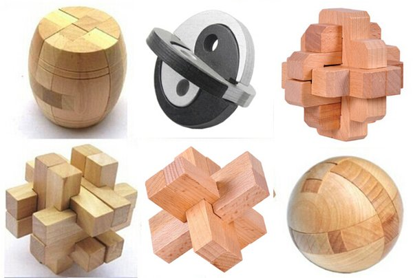 6pcs/lot Classic 3d Iq Brain Teaser Wooden Interlocking Puzzles Game Toy Kong Ming Luban Lock For Adults And Kids