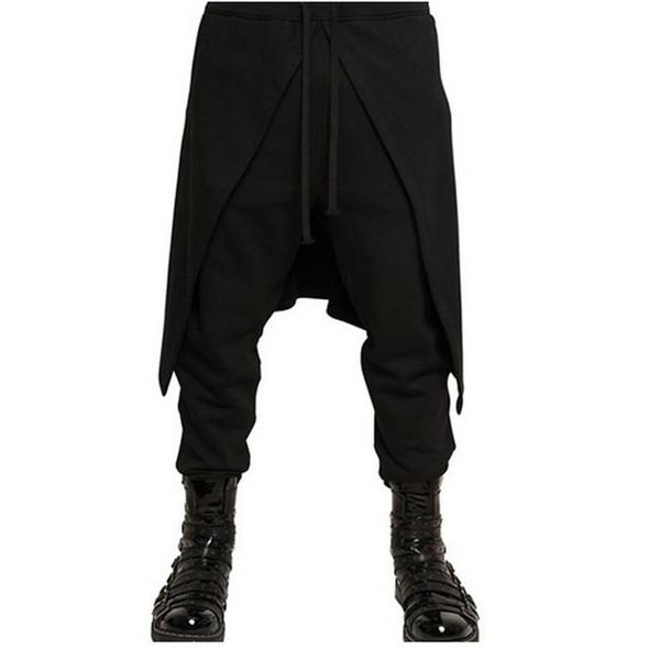 Cool Mens Gothic Punk Style Harem Pants Black Hip Hop Wear Skinny Dress Skirt Pants Trousers Faux 2pieces