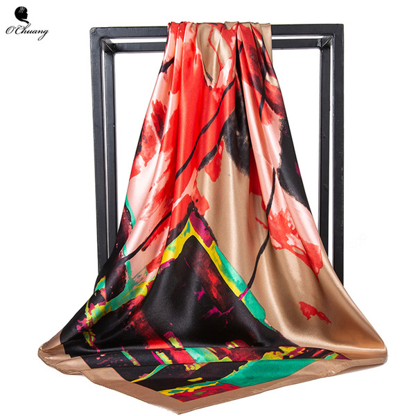 Grand foulard en soie femmes abstrait doodle Carré Foulard Designer de Luxe Grand Bandana Hijab Satin Foulards Femme 90cm x 90cm