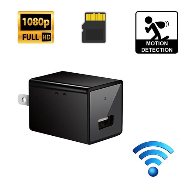 Mini caméra HD 1080 P Wifi VCR Chargeur mural USB Adaptateur secteur Cam sans fil Cam Détection de mouvement Prise de sécurité pour bureau à domicile Enregistreur vidéo DV