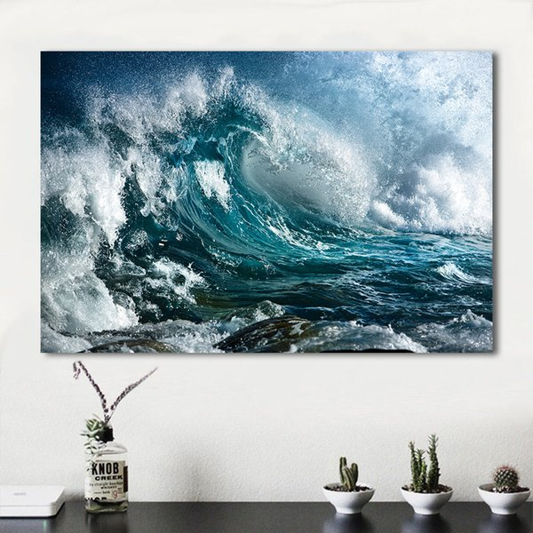 1 Piece Home DecorLiving Room Sea Wave Spray Modern Canvas Print Picture Painting Wall Art No Frame Decorative Pictures