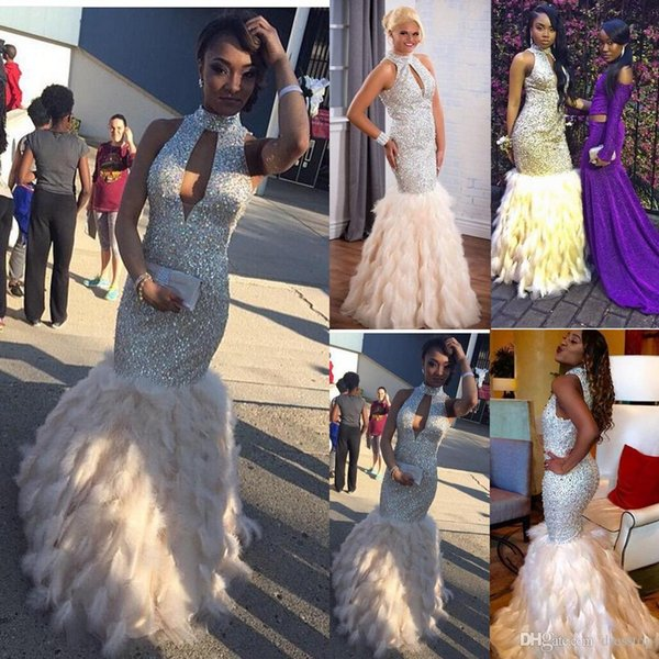 Stunning Sequined Feather Prom Dresses Long Rhinestones Beaded High Neck Formal Gowns Floor Length Evening Pageant Dress For Women