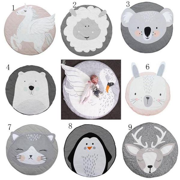 INS Baby Creeping Mats Fox deer Unicorn Rabbit lion swan Play Game Mat Decorative Crawling Blanket Kids Floor Carpet 13 styles MMA1274 30pcs