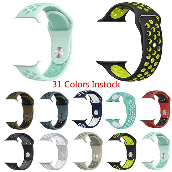 best selling 31Colors Hotsale Rubber Strap Watchband Brand watchband with 38mm 42mm Silicone Wristband with Watch Sport Edition Holes VS Fitbit