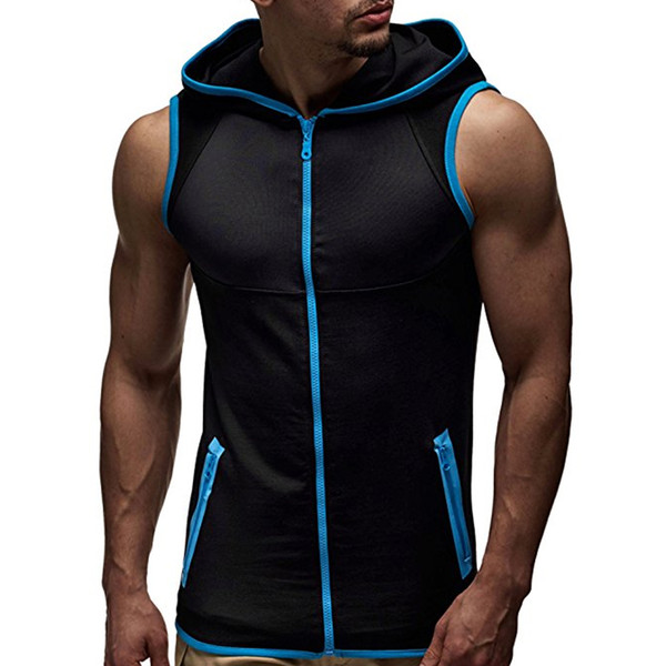 IceLion 2019 Spring Sleeveless Hoodies Men Slim Fit Sweatshirts Summer Zipper Cardigan Sportswear Fashion Comfortable Tracksuit