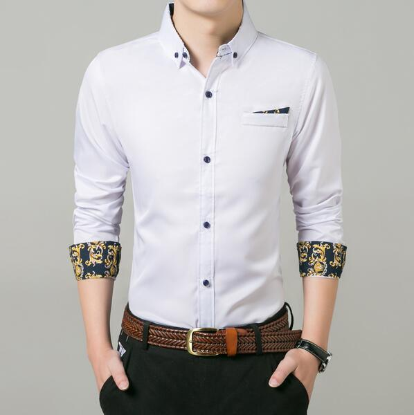 New Oxford Textile Business Casual Digital Print Loose Men's Pocket Long Sleeve Shirt Free Shipping 07
