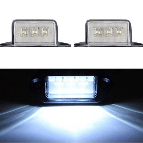 2PCS 12/24V 3 LED Rear Number License Plate Light Lamp Truck Trailer Caravan Waterproof Big Car Lamp