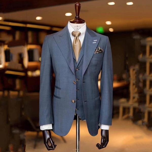 Populares Noivo Smoking Cinza Lapela Groomsmen Mens Vestido De Casamento Excelente Homem Jaqueta Blazer 3 Peça Terno (Jaqueta + Calça + colete + Gravata) 676