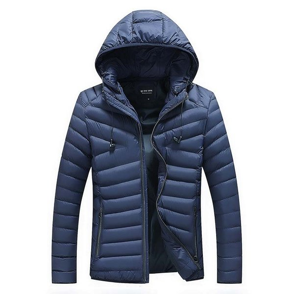 Navy Winter Jacket Men 2019 Brand New Cotton Padded Hooded Quilted Jacket Thick Warm Jackets Coats Plus Size M-4XL